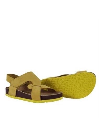 Kids A More Diaz Tek Cırtlı Deri Unisex Çocuk Sandalet  Sarı